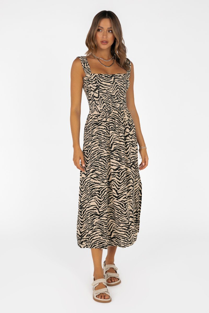 TORI BEIGE ZEBRA SHIRRED MIDI DRESS Clothing PREORDER