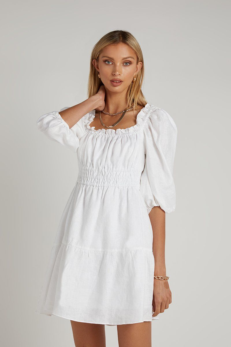MALIA WHITE LINEN MINI DRESS Clothing DISSH Boutiques 12 WHITE