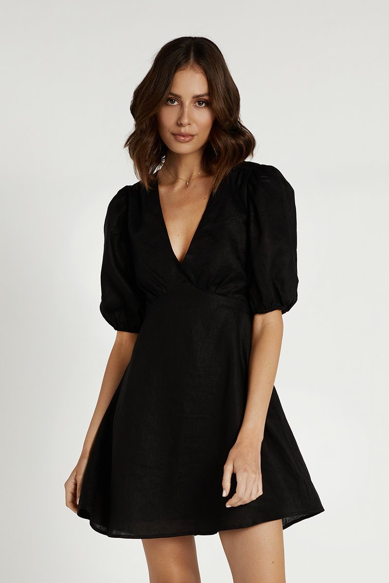 LACEY BLACK LINEN MINI DRESS Clothing DISSH Boutiques 6 BLACK