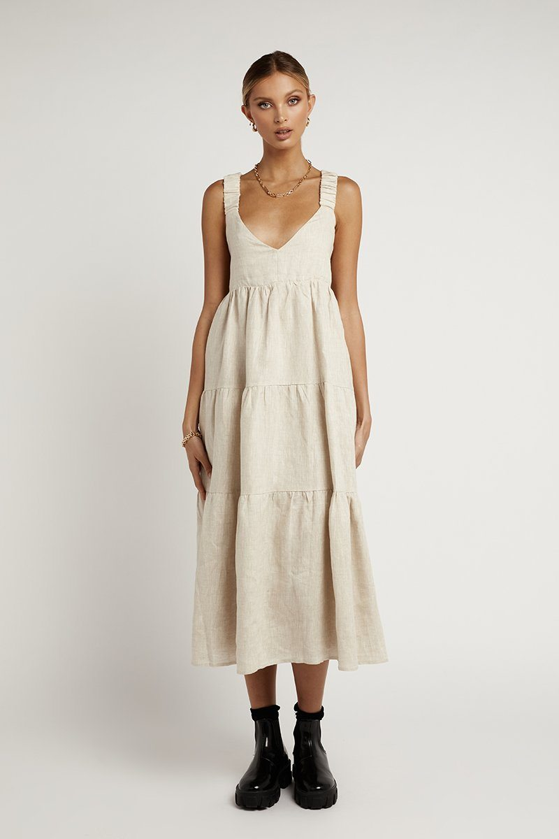 AMY NATURAL LINEN MIDI DRESS Clothing DISSH Boutiques