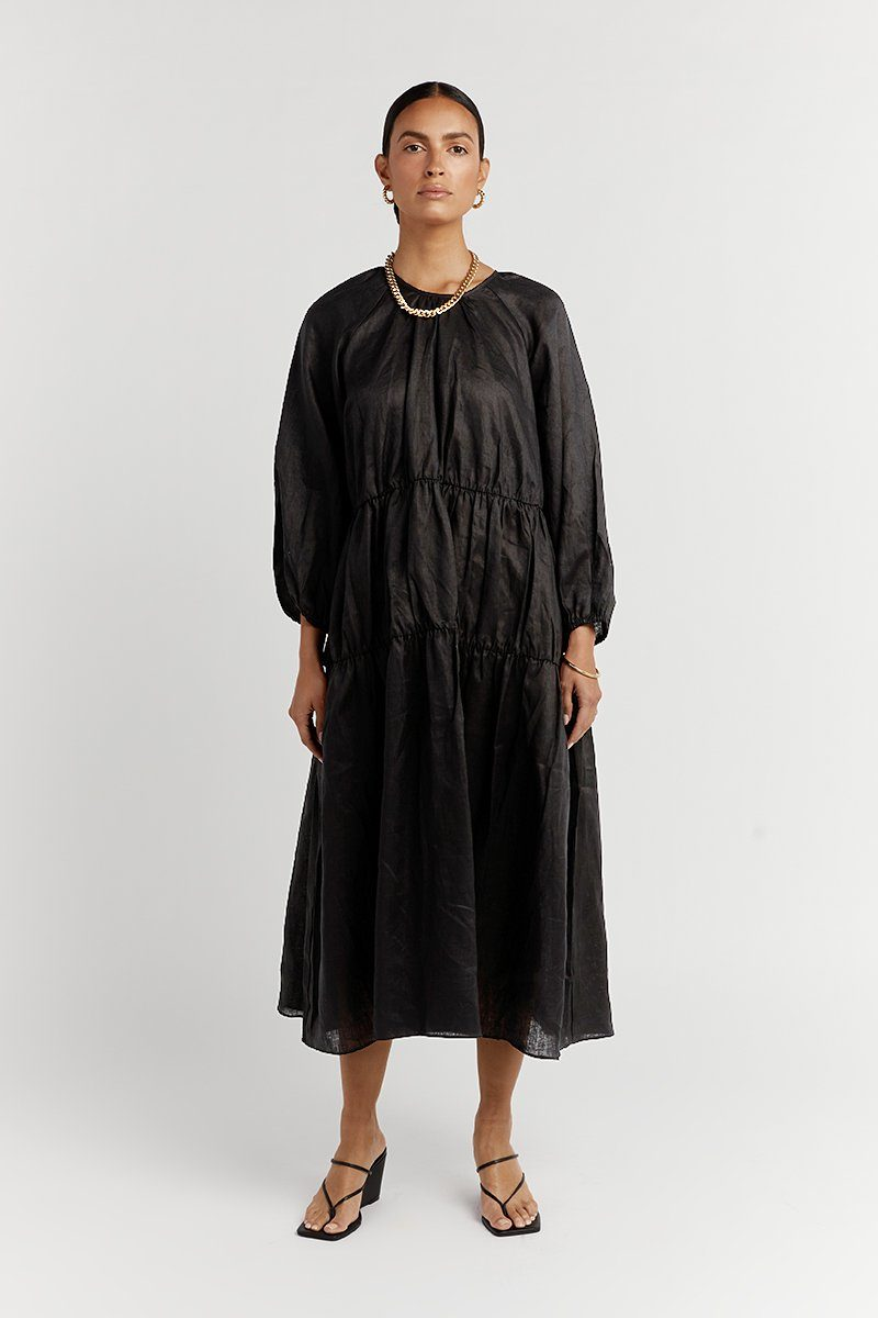 NOAH RAGLAN BLACK LINEN MIDI DRESS Clothing DISSH EXCLUSIVE 6 BLACK