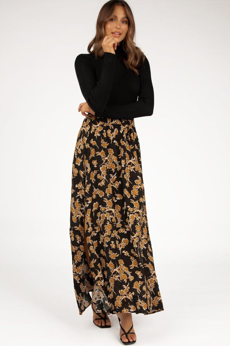 KATIE BLACK FLORAL MAXI SKIRT Clothing DISSH Boutiques