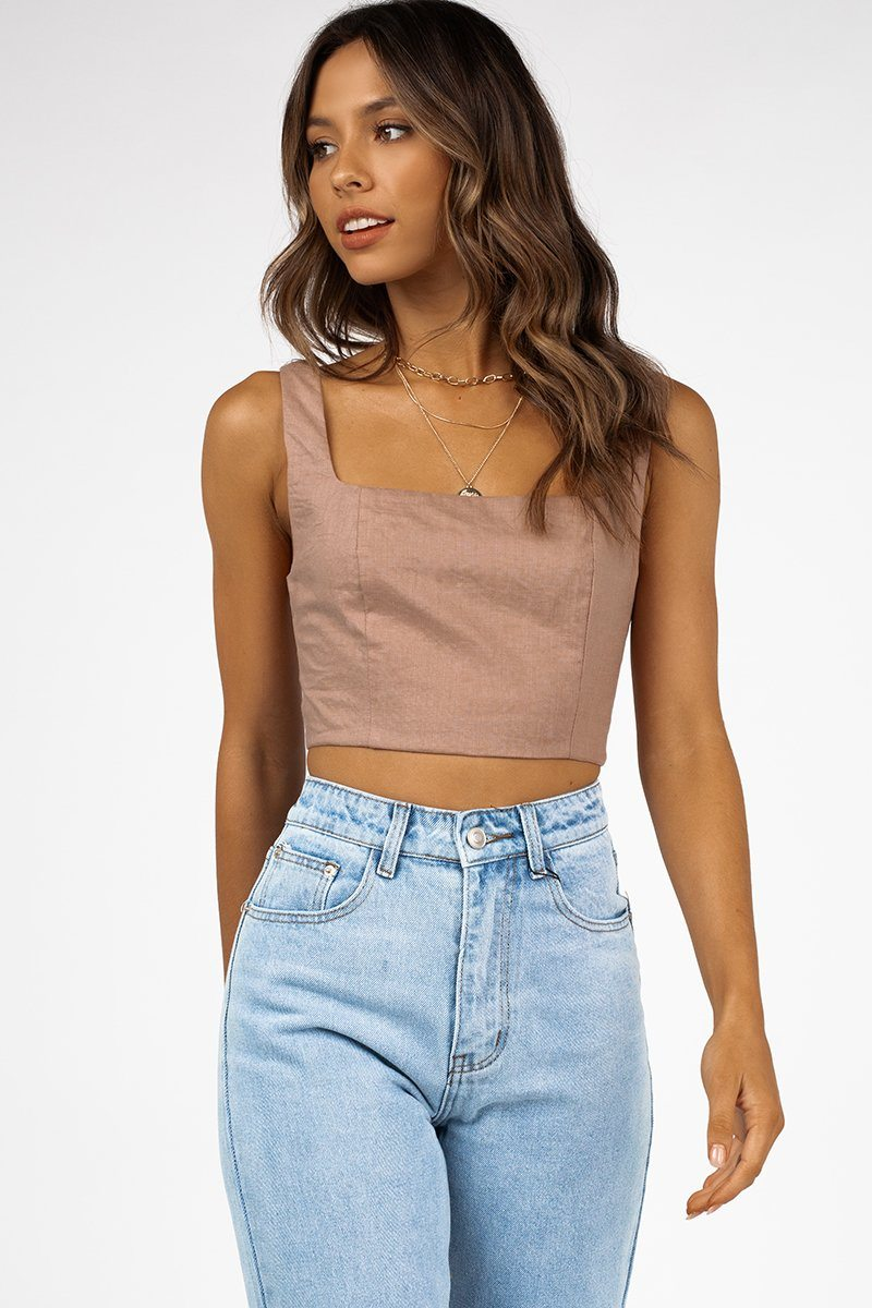 TALK DEEP LATTE LINEN CROP TOP Clothing DISSH Boutiques 6 TAN
