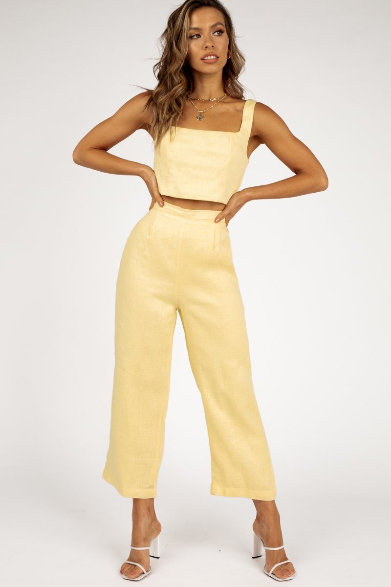 TILLY LEMON LINEN CROPPED PANT Clothing DISSH EXCLUSIVE