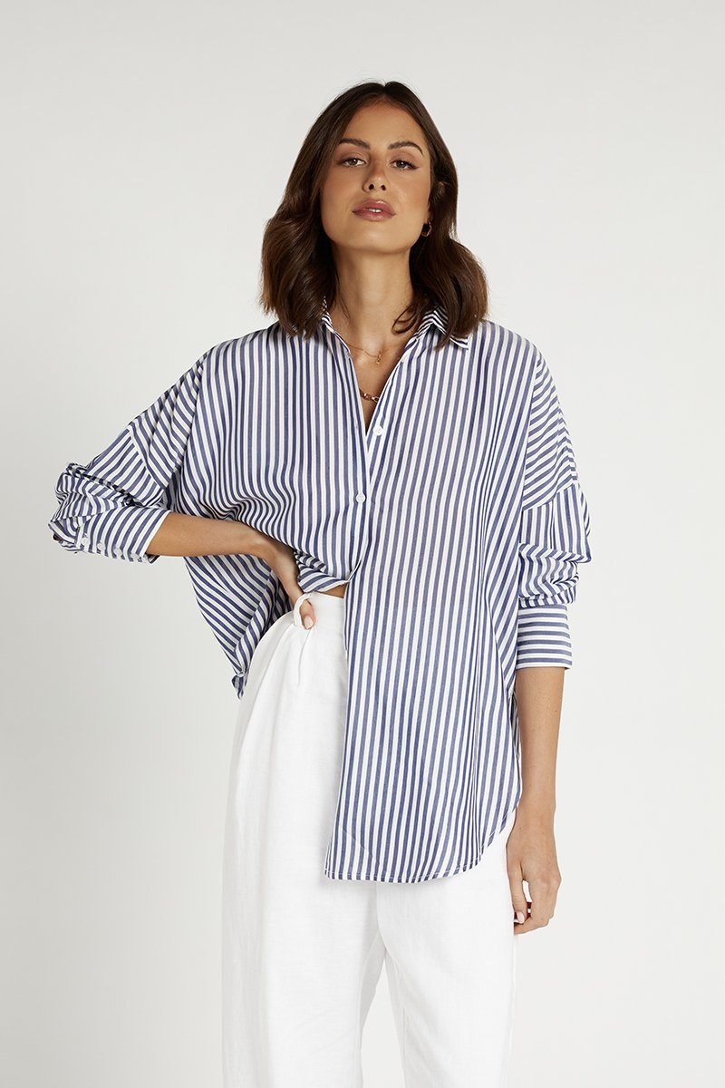 PORT INDIGO STRIPE COTTON SHIRT Clothing DISSH Boutiques