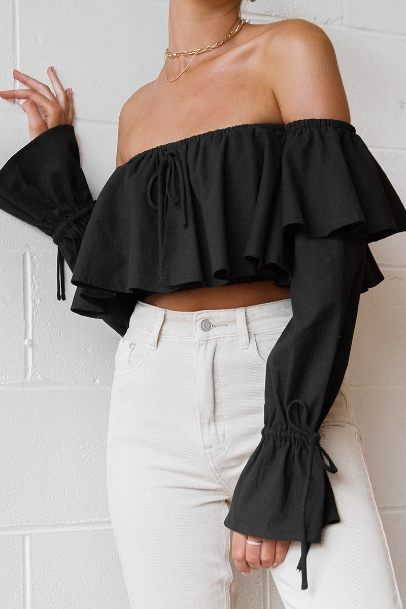 ABOUT YOU BLACK SLEEVED CROP TOP Clothing DISSH Boutiques 6 BLACK