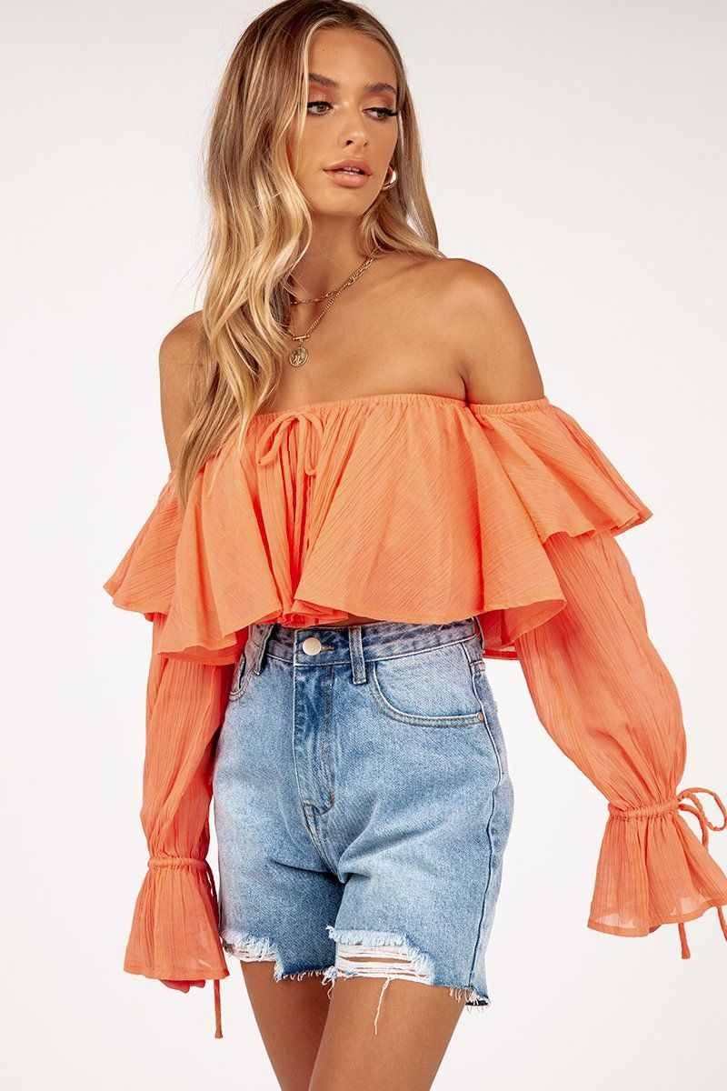 CLOVERLY ORANGE STRAPLESS CROP TOP