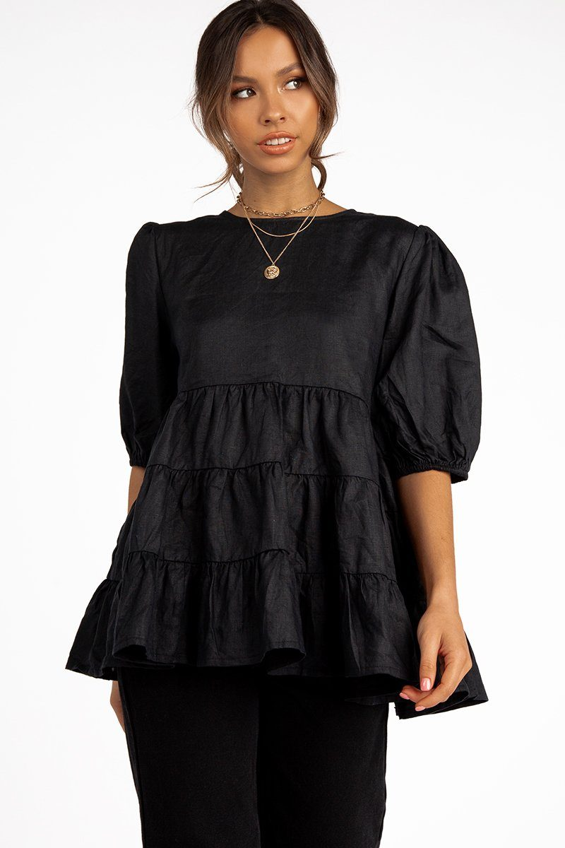 HEAVEN BLACK LINEN BABYDOLL TOP Clothing DISSH Boutiques 8 BLACK