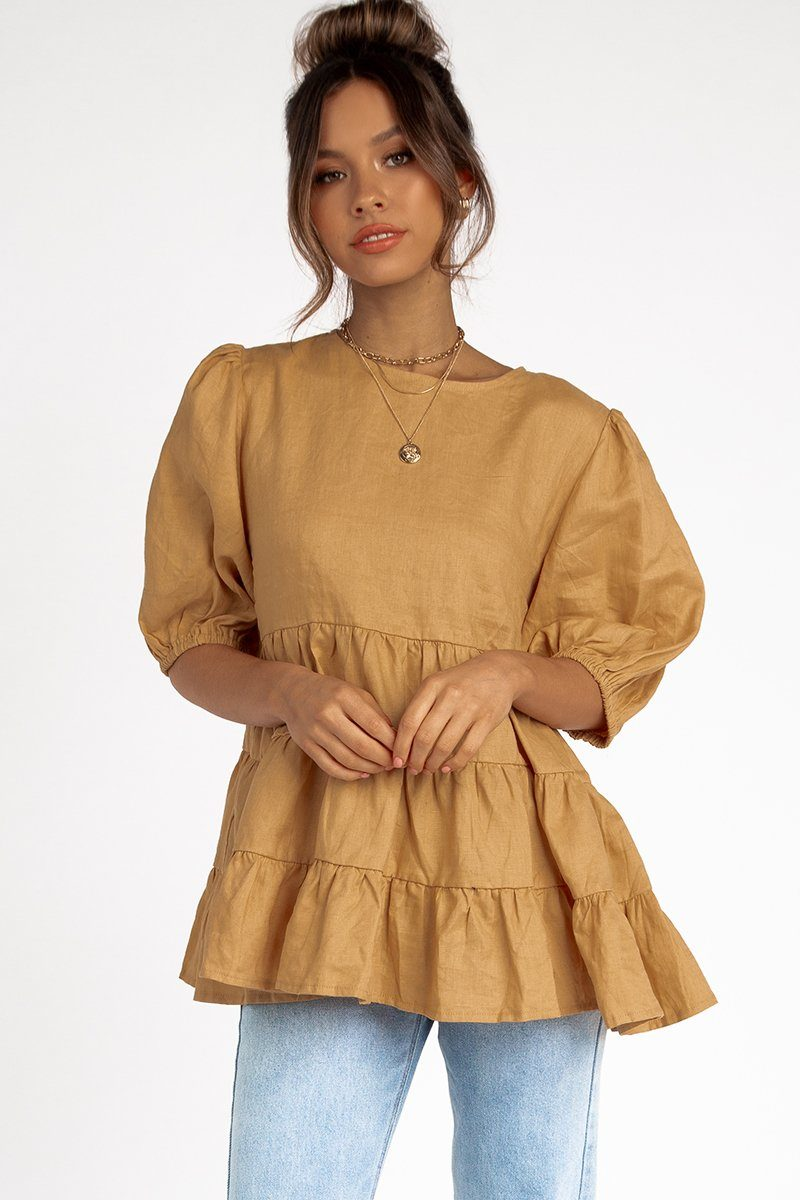 HEAVEN BISCUIT LINEN BABYDOLL TOP Clothing DISSH Boutiques 12 TAN