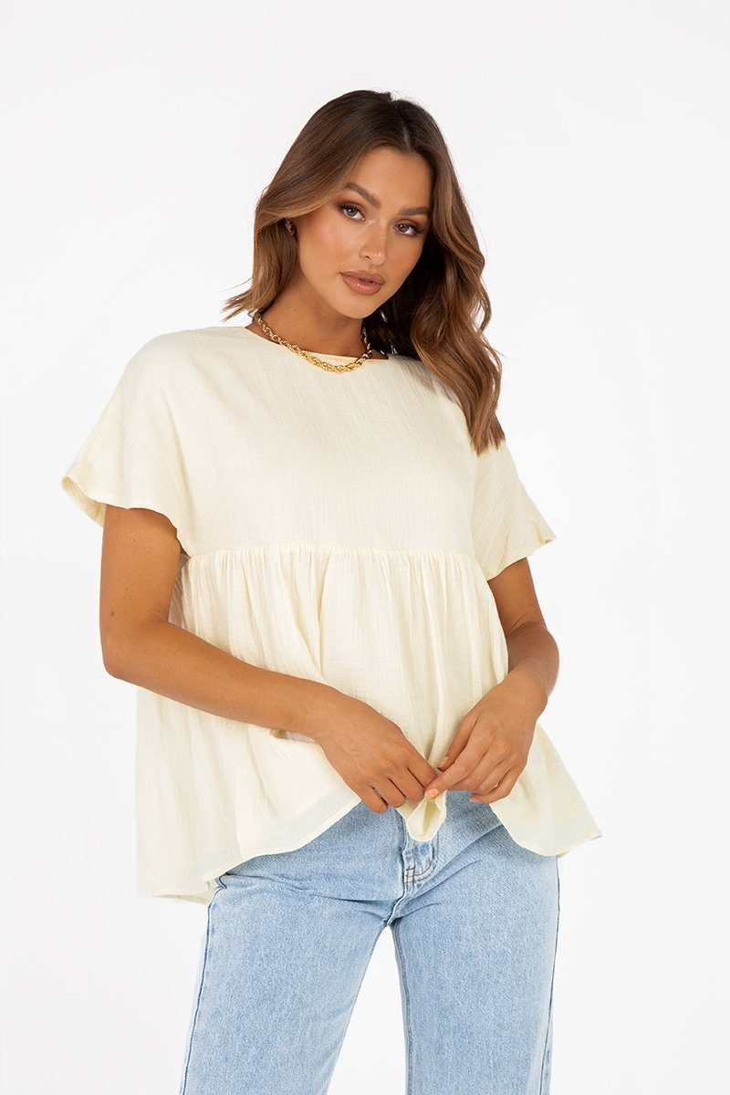 DENVER CREAM BABYDOLL TOP Clothing DISSH Boutiques 10 CREAM