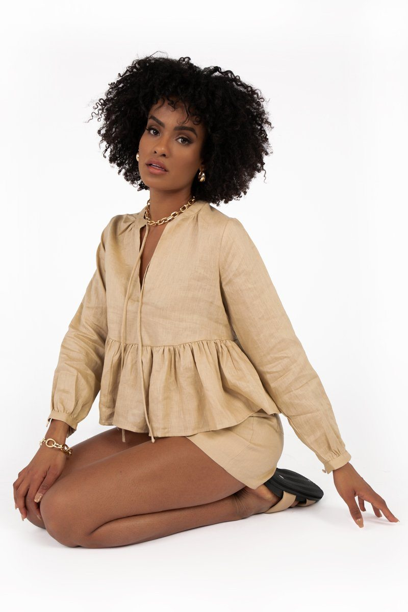 POPPY STONE LINEN SLEEVED TOP Clothing DISSH Boutiques