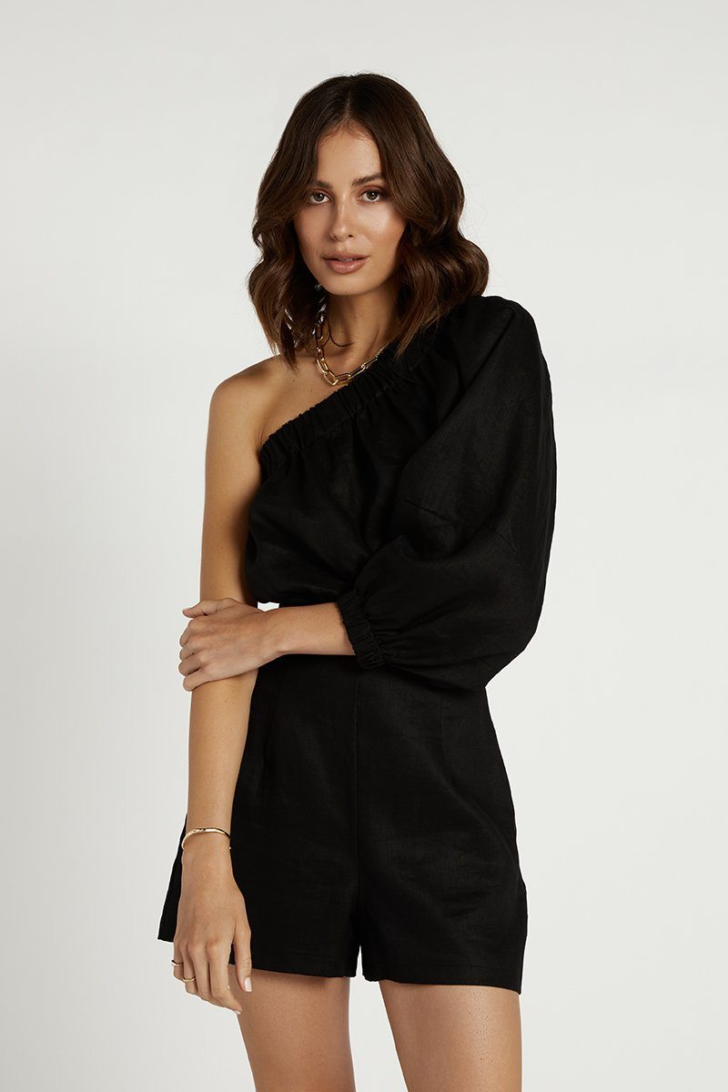 TALIA BLACK LINEN GATHERED TOP