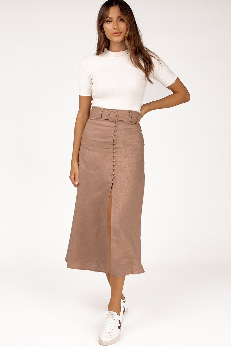 HOME RUN LATTE LINEN MIDI SKIRT