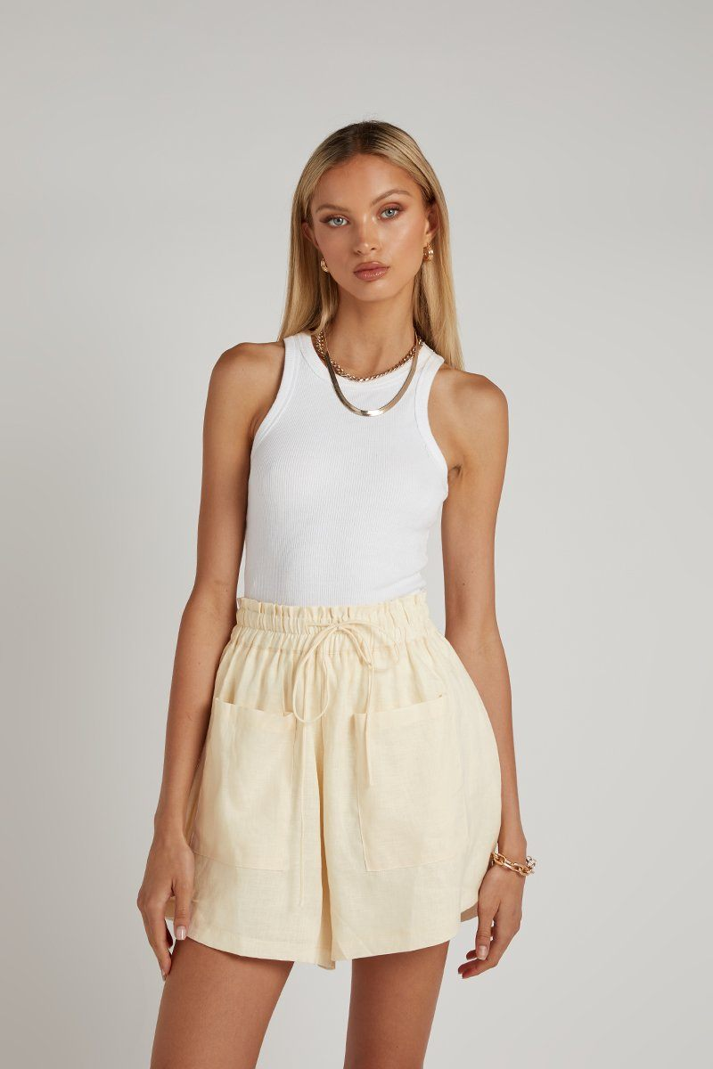 CADENCE CREAM LINEN POCKET SHORT Clothing DISSH Boutiques 12 CREAM