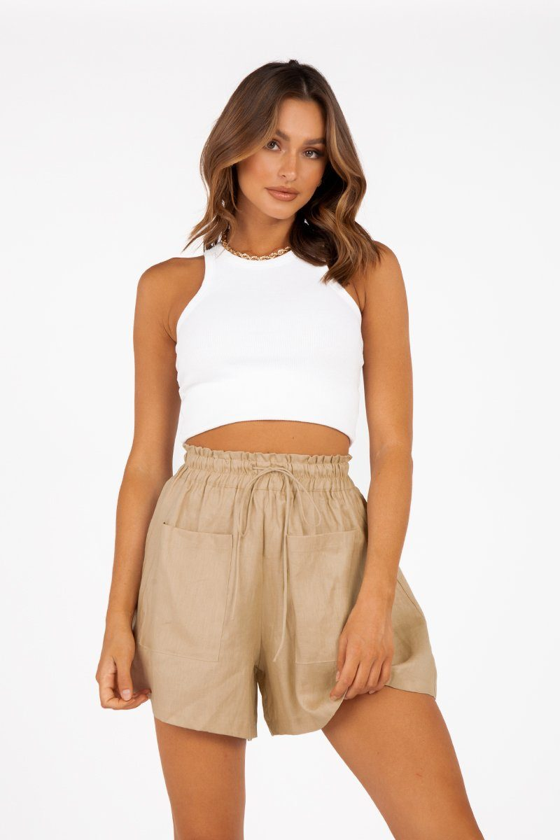 CADENCE STONE LINEN POCKET SHORT Clothing DISSH Boutiques 6 SAND