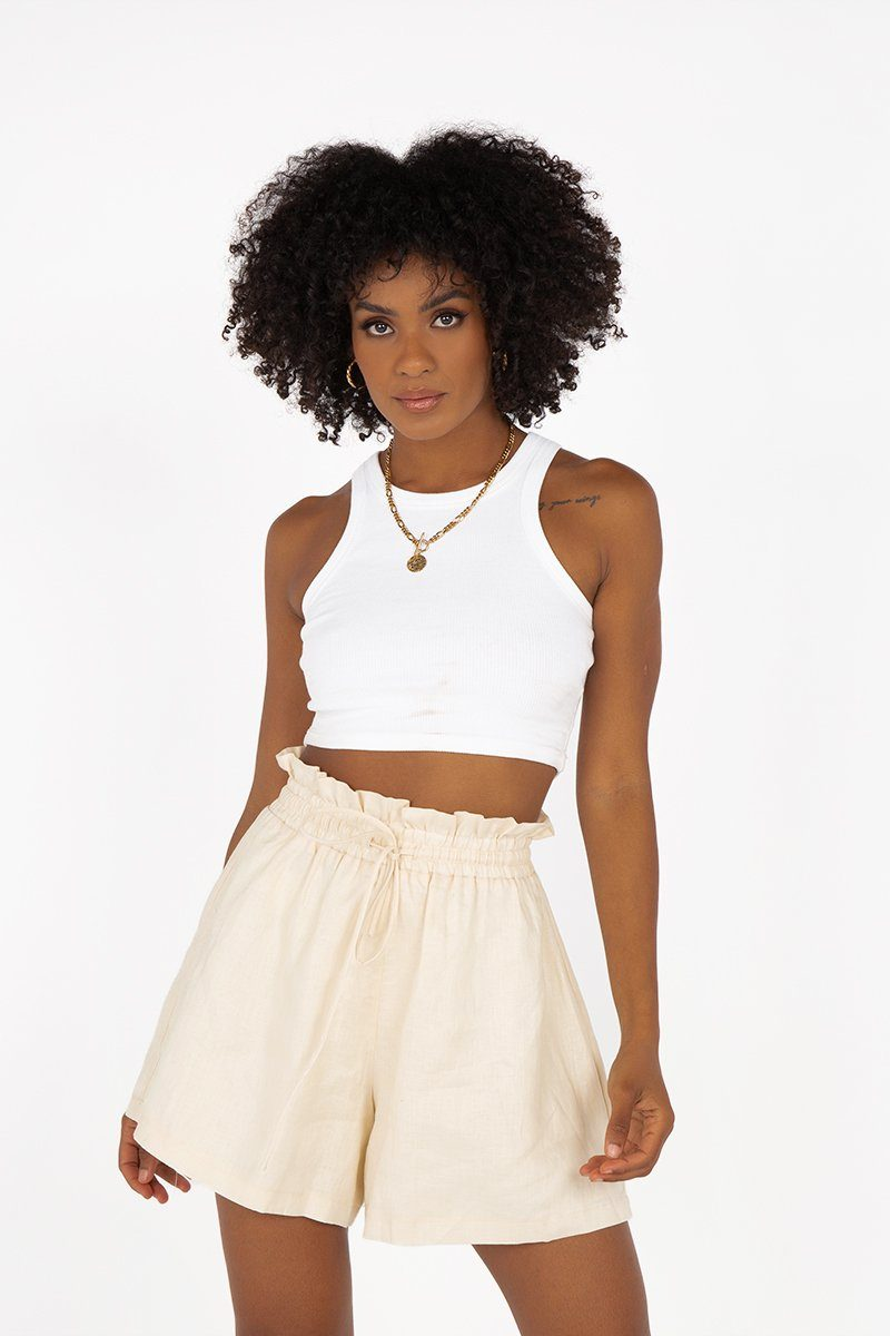 NELLIE PAPERBAG CREAM LINEN SHORTS Clothing DISSH Boutiques 12 CREAM
