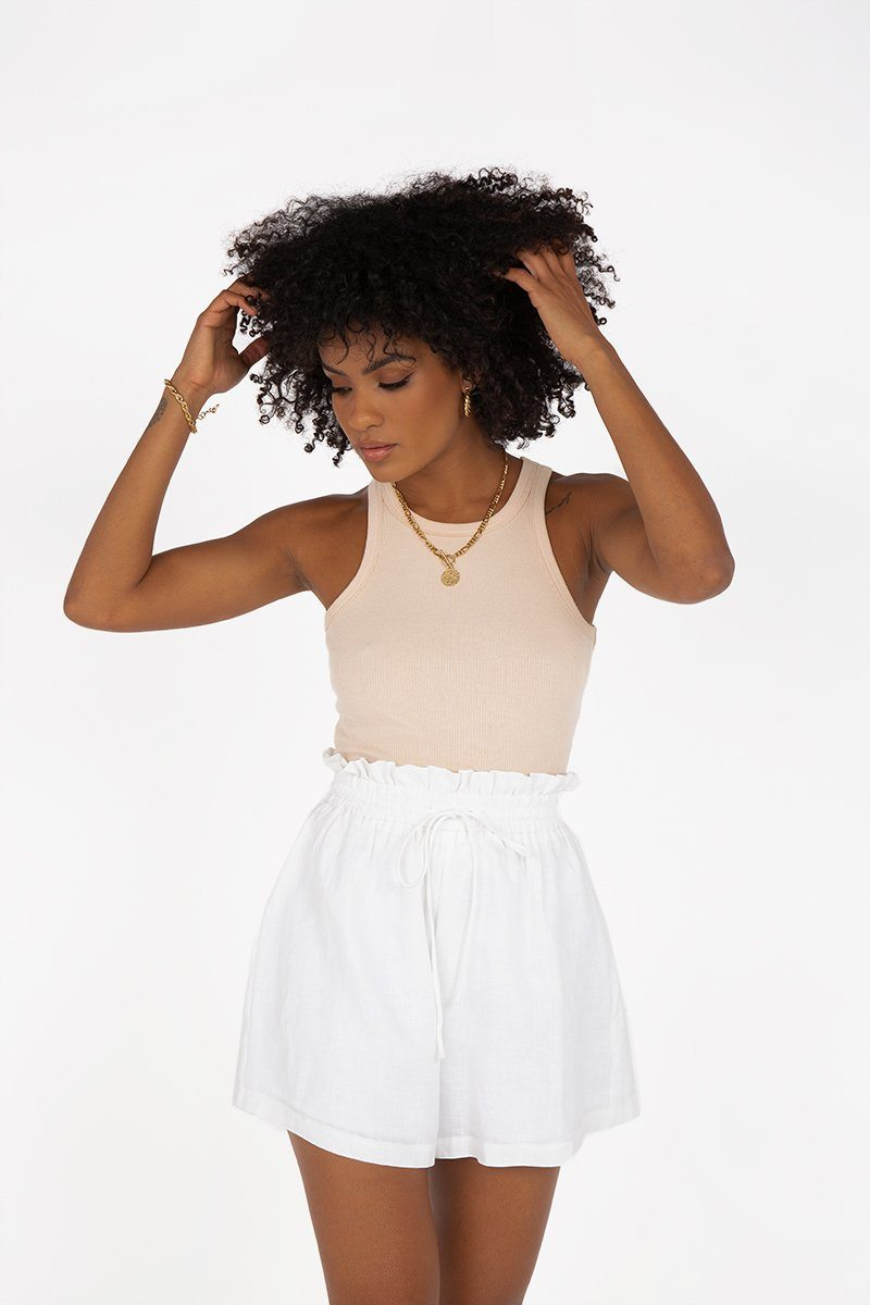 NELLIE PAPERBAG WHITE LINEN SHORT Clothing DISSH EXCLUSIVE 14 WHITE