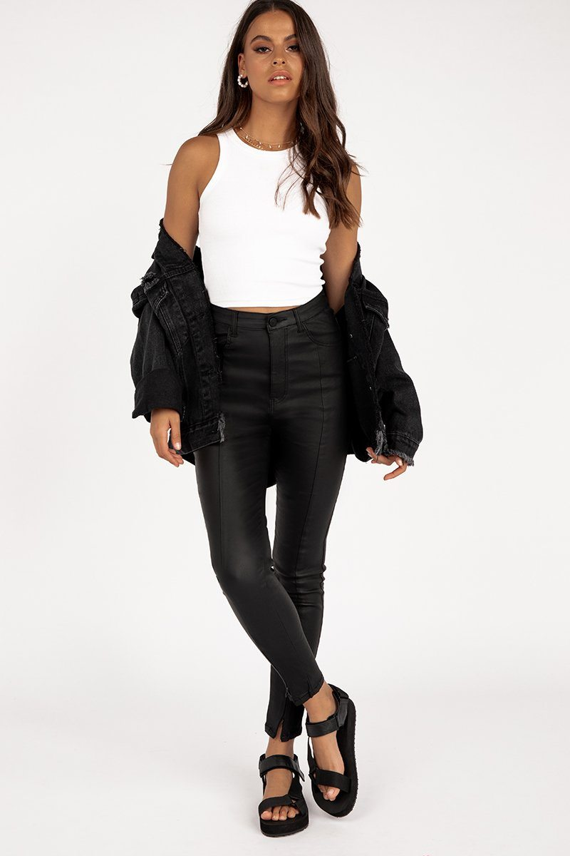 ALEXA BLACK LEATHER LOOK JEANS Clothing DISSH Boutiques 4 BLACK