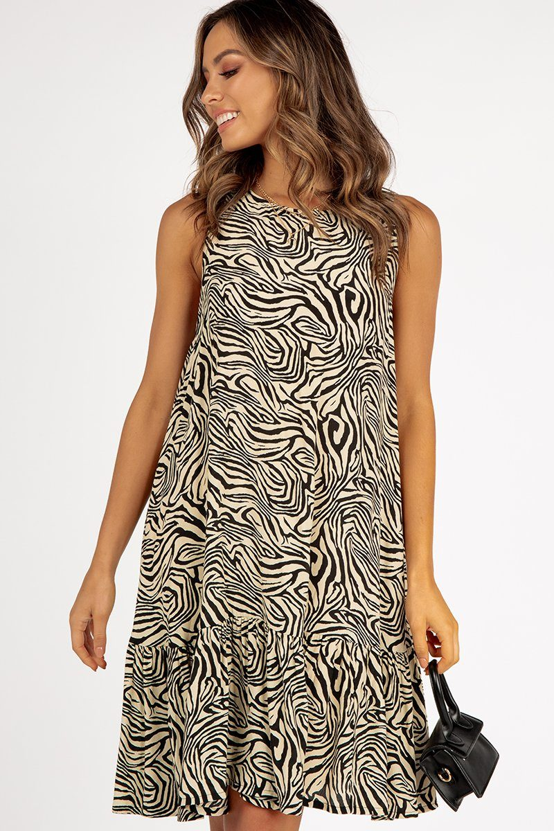 BANDA BEIGE ZEBRA BABYDOLL DRESS Clothing DISSH Boutiques 16 BEIGE
