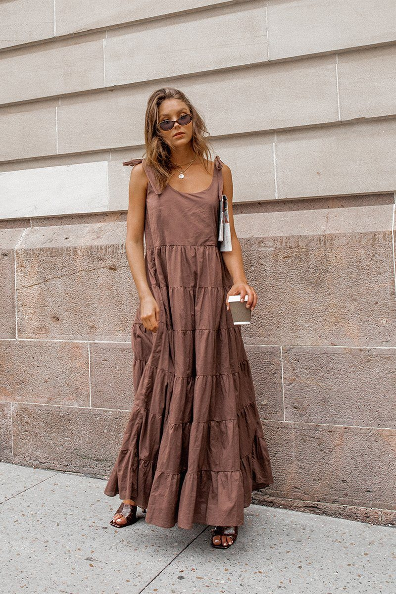 BRING IT BACK CHOCOLATE MAXI DRESS Clothing DISSH Boutiques 14 CHOCOLATE