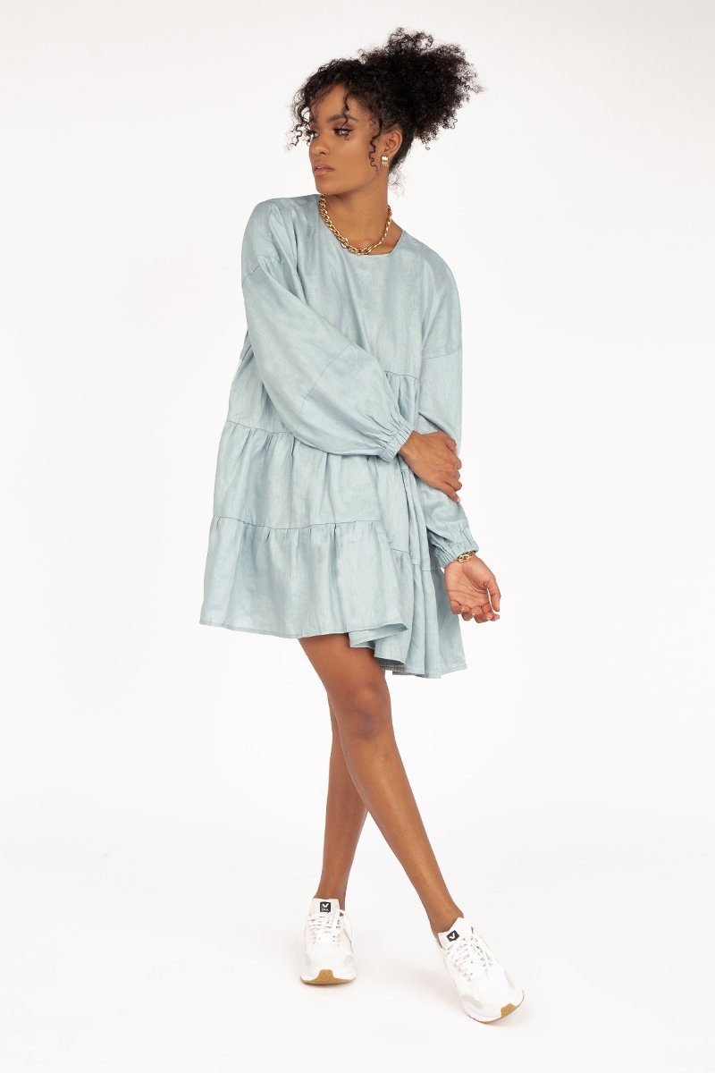 DAHLIA SLEEVED ICE BLUE LINEN DRESS Clothing DISSH Boutiques 12 LIGHT BLUE