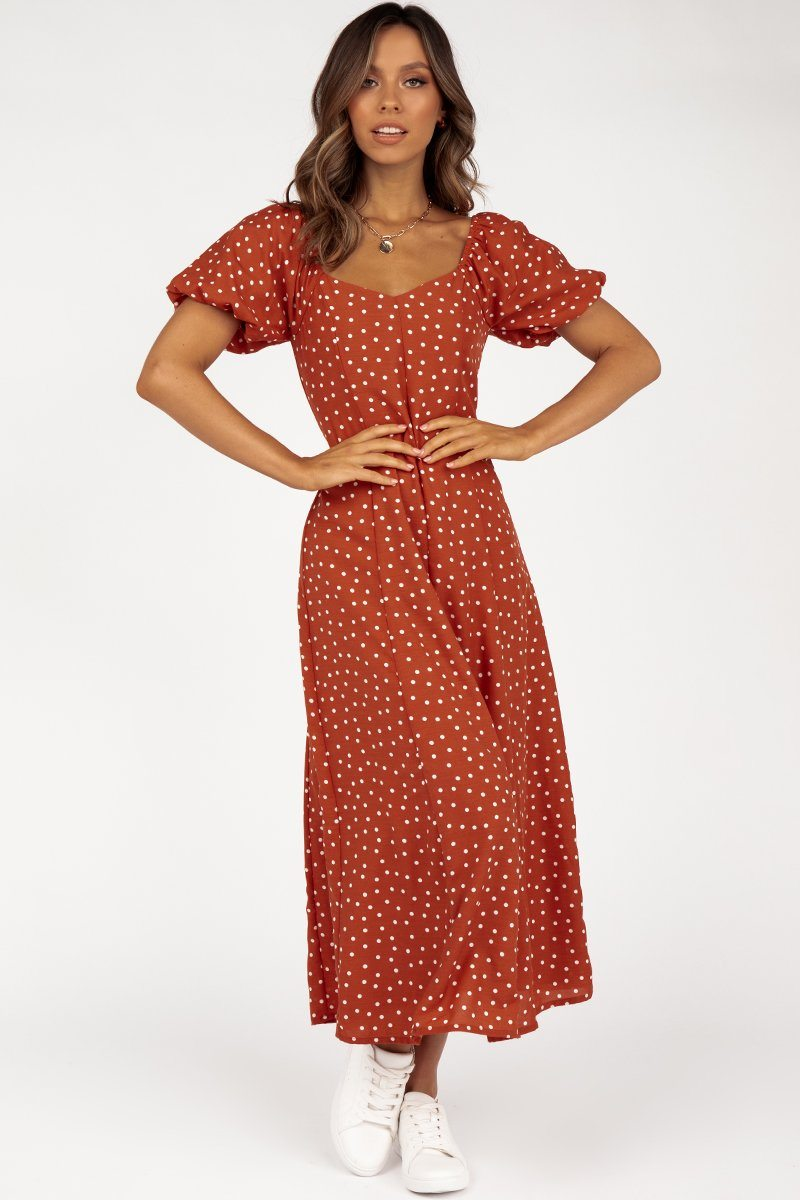 MONTANA COPPER SPOT MIDI DRESS Clothing DISSH Boutiques 14 COPPER