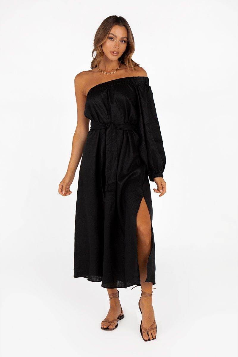 BLAKE BLACK LINEN ONE SHOULDER MIDI DRESS Clothing DISSH Boutiques 16 BLACK