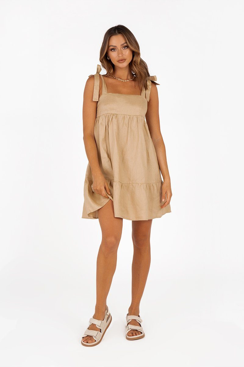 AMBER STONE LINEN BABYDOLL DRESS Clothing DISSH Boutiques 6 STONE
