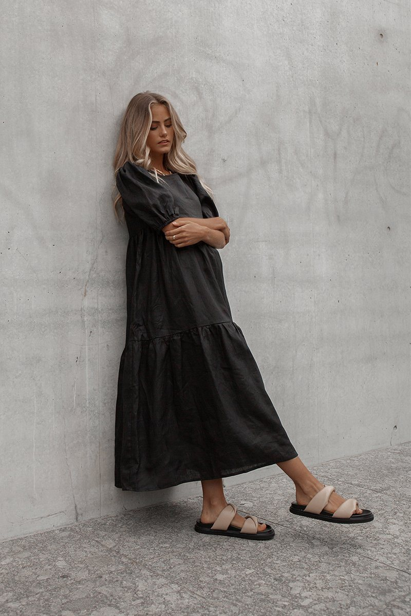 BONNIE BLACK LINEN TIER MIDI DRESS Clothing DISSH Boutiques 14 BLACK