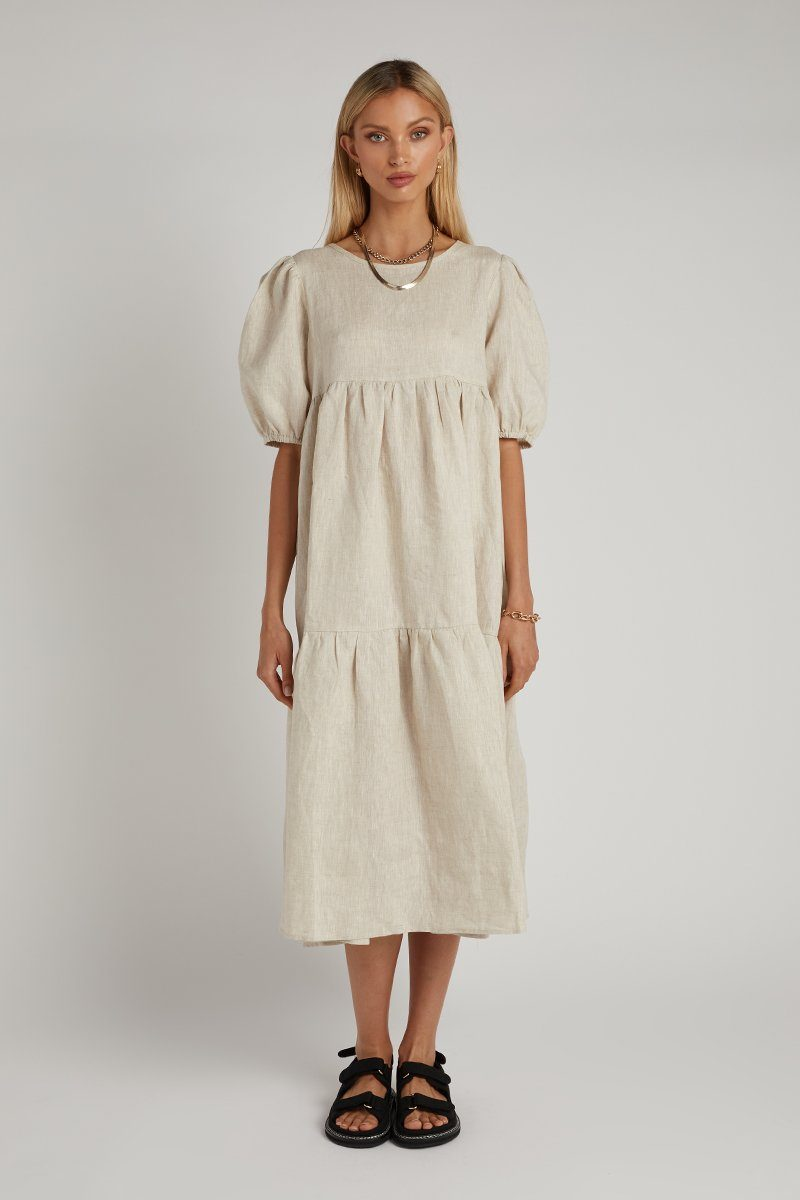BONNIE NATURAL LINEN MIDI DRESS Clothing DISSH Boutiques 14 NATURAL