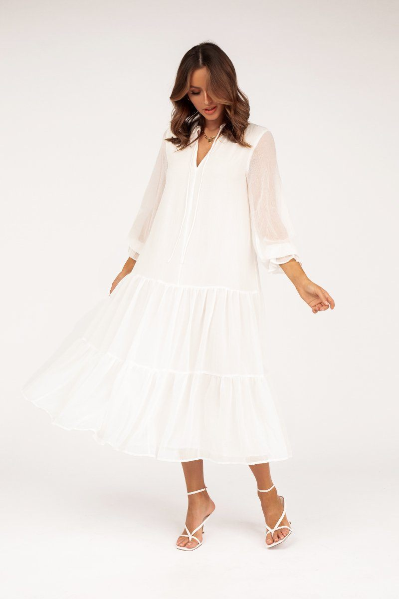 SASHA WHITE SLEEVED MIDI DRESS Clothing DISSH Boutiques S WHITE