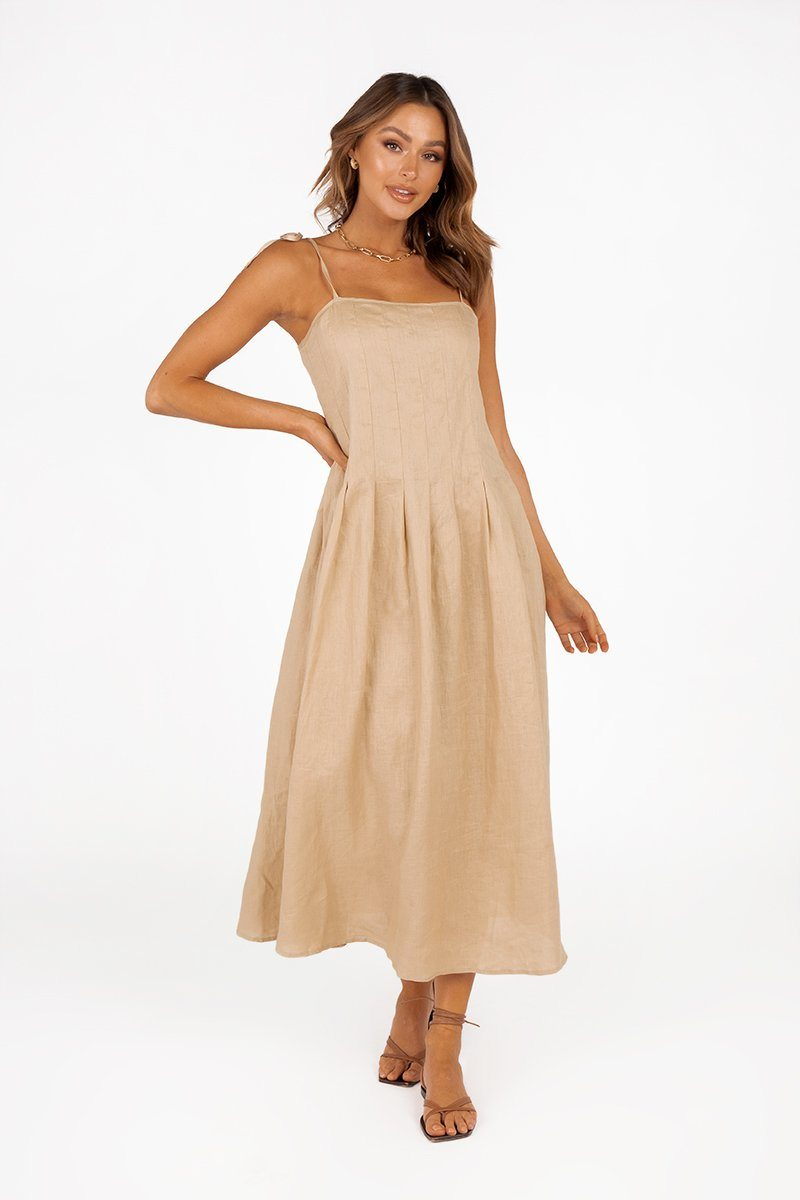 PIA STONE LINEN PLEAT MIDI DRESS Clothing DISSH Boutiques 14 STONE