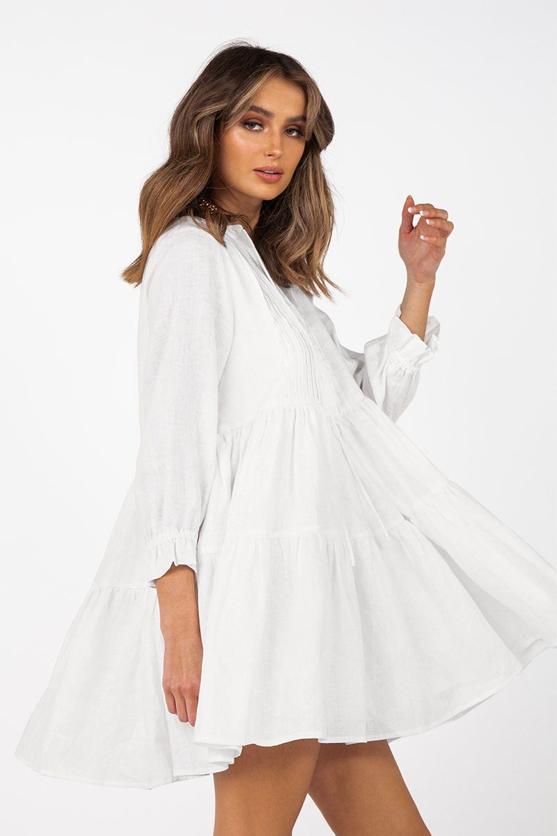 LUNA WHITE LINEN SLEEVED DRESS