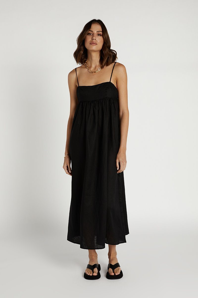 MADDOX BLACK LINEN MIDI DRESS Clothing DISSH Boutiques