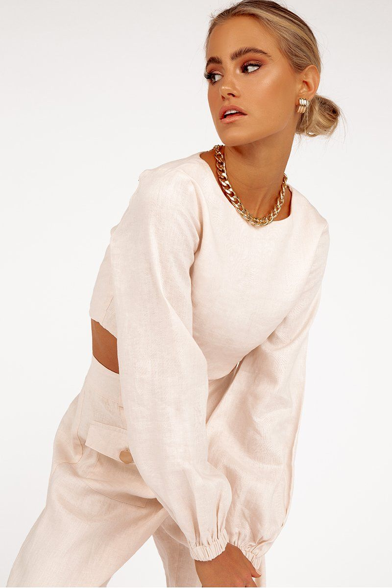 BLEEKER ALMOND LINEN CROP TOP Clothing DISSH Boutiques 6 ALMOND