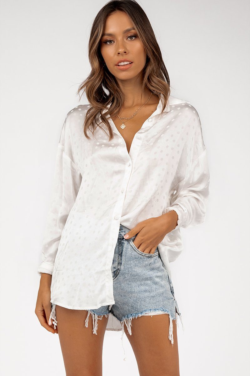 DAHLIA WHITE SATIN SPOT SHIRT Clothing DISSH EXCLUSIVE 12 WHITE