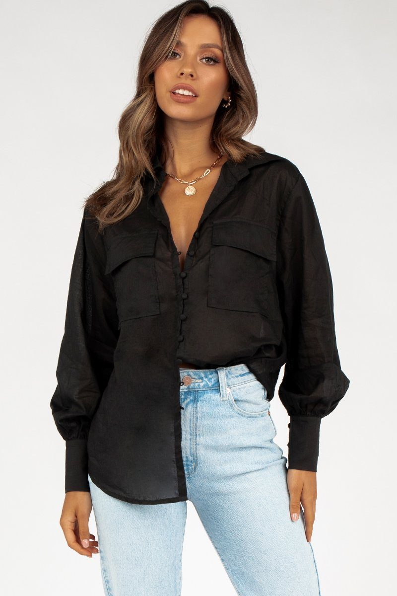 VIVIAN BLACK POCKET SHIRT