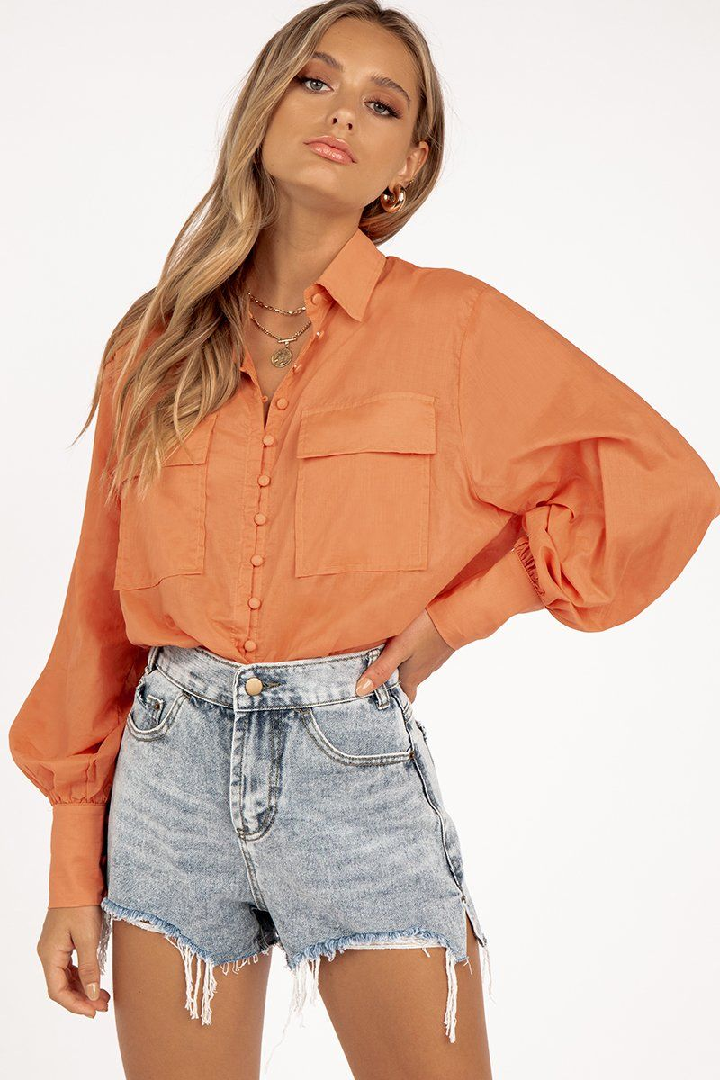 VIVIAN ORANGE POCKET SHIRT