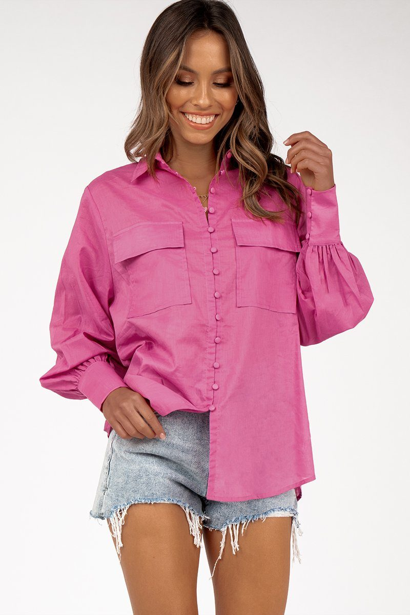 VIVIAN VIOLET POCKET SHIRT