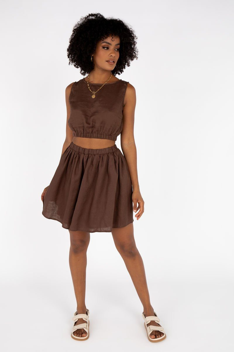 DYLAN CHOCOLATE LINEN MINI SKIRT Clothing DISSH Boutiques 10 CHOCOLATE
