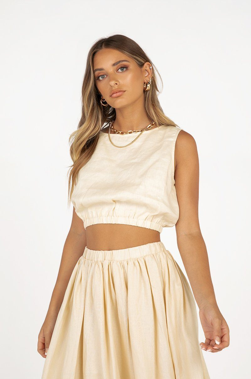 DYLAN CREAM LINEN CROP TOP Clothing DISSH Boutiques