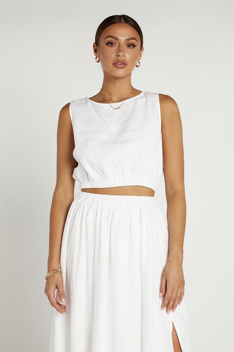 DYLAN WHITE LINEN CROP TOP Clothing DISSH Boutiques