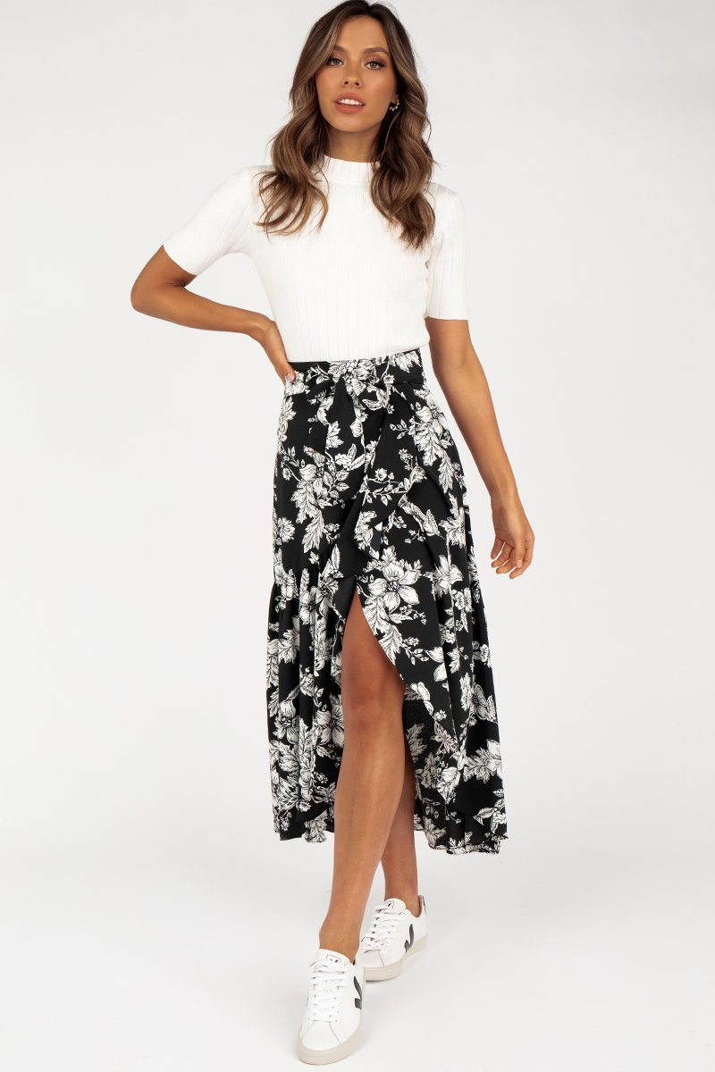 ROZALIA BLACK FLORAL WRAP SKIRT