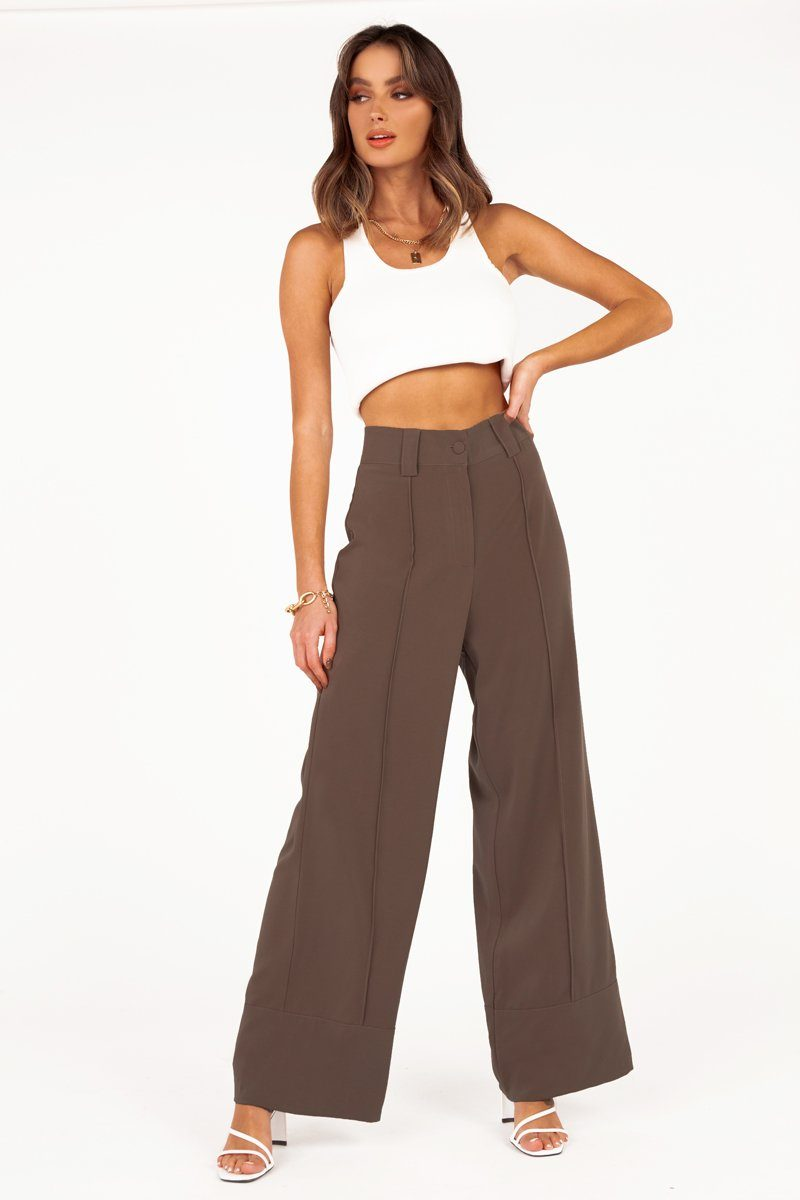 NASHVILLE CHOCOLATE CUFF PANT Clothing DISSH Boutiques 14 CHOCOLATE