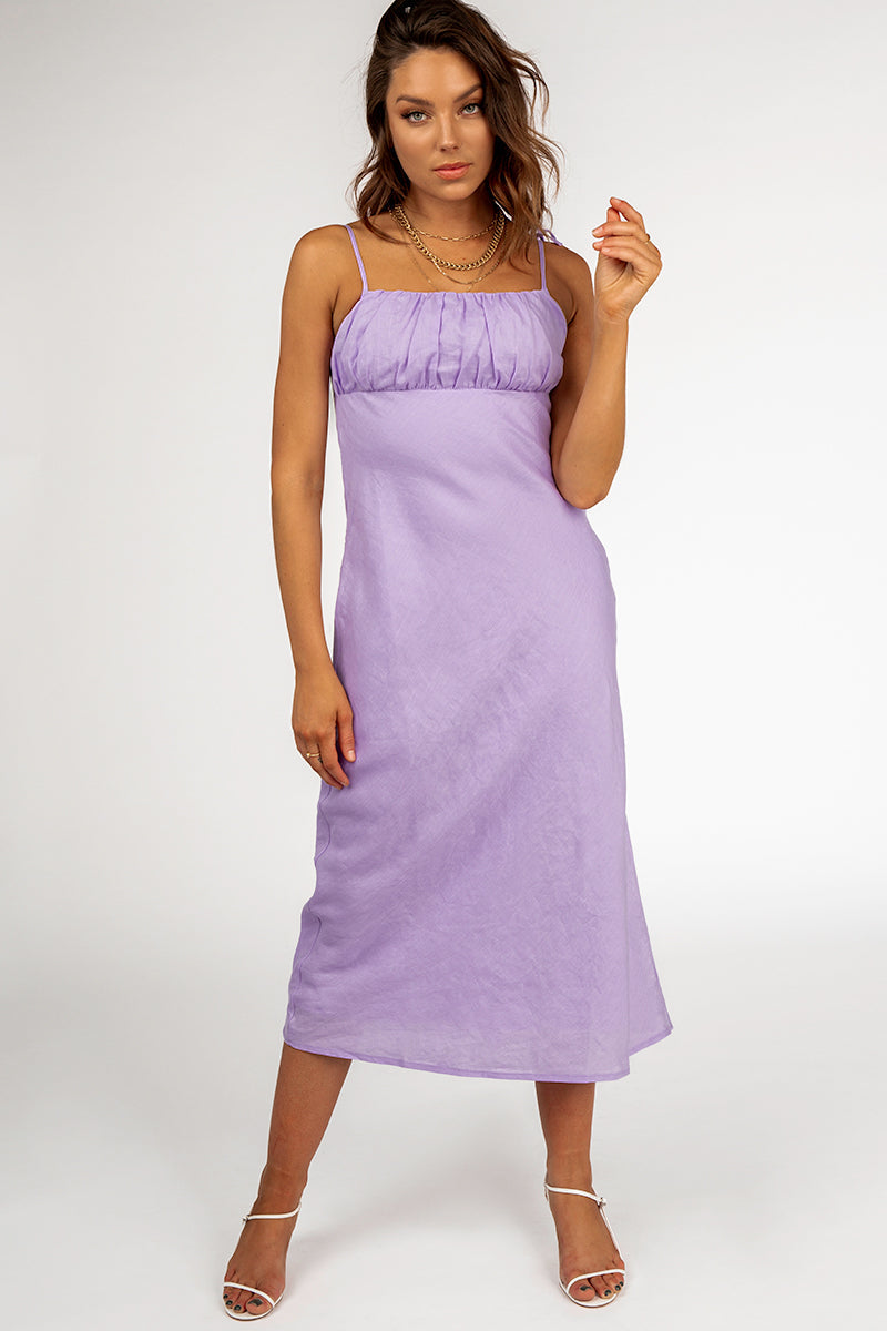 new authentic sells detailed images DAWN LILAC LINEN MIDI DRESS   Dissh