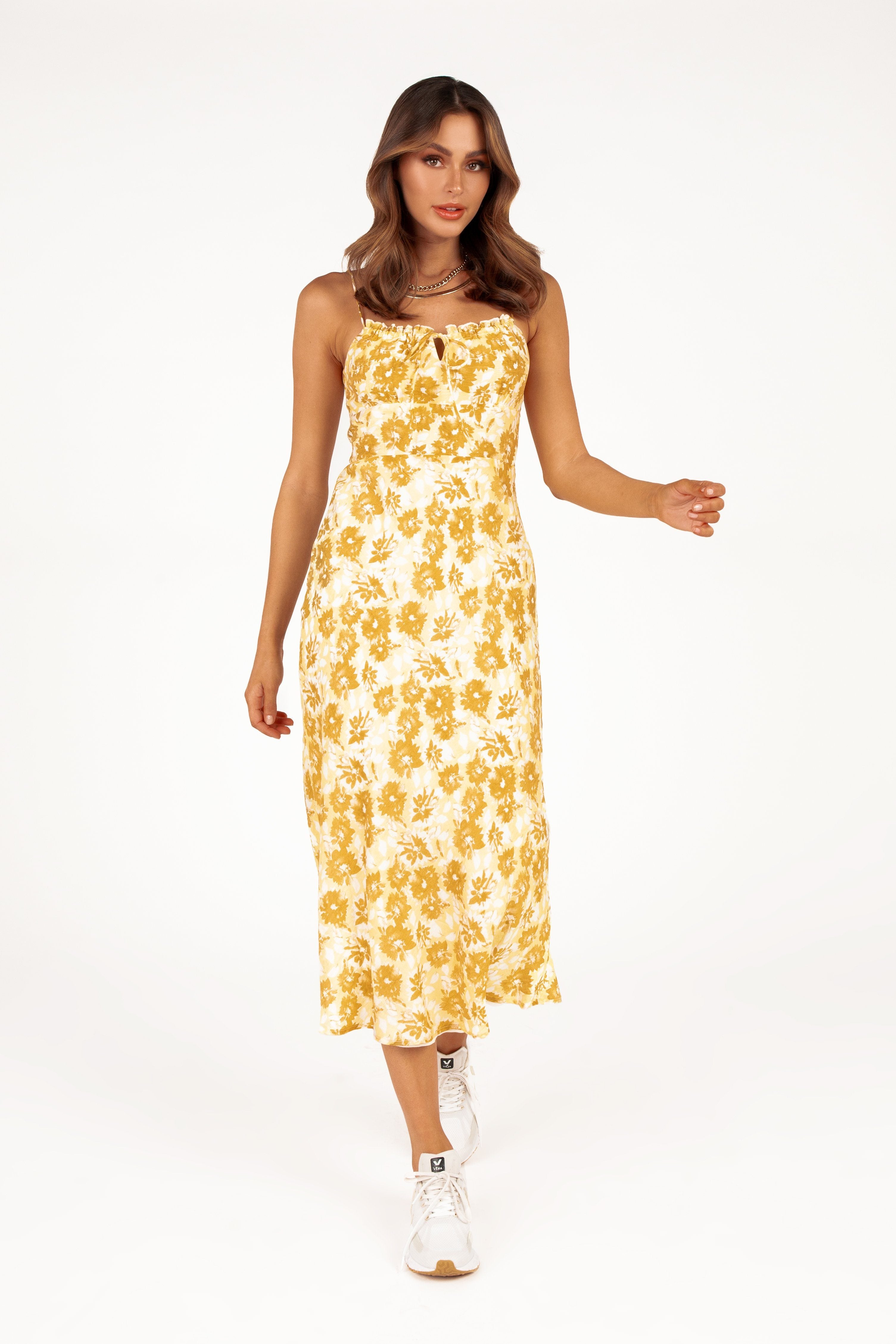 DIONNE YELLOW FLORAL MIDI DRESS Clothing DISSH EXCLUSIVE 12 YELLOW
