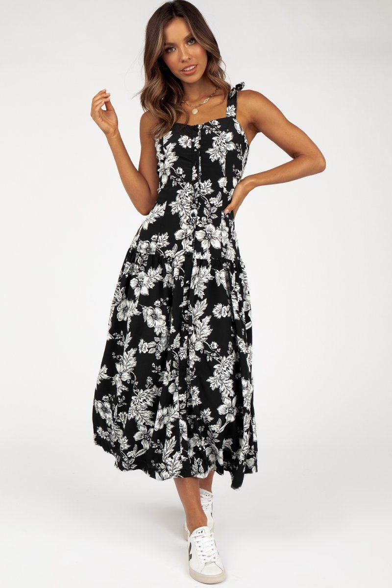 ROZALIA BLACK FLORAL MIDI DRESS Clothing DISSH Boutiques 10 BLACK