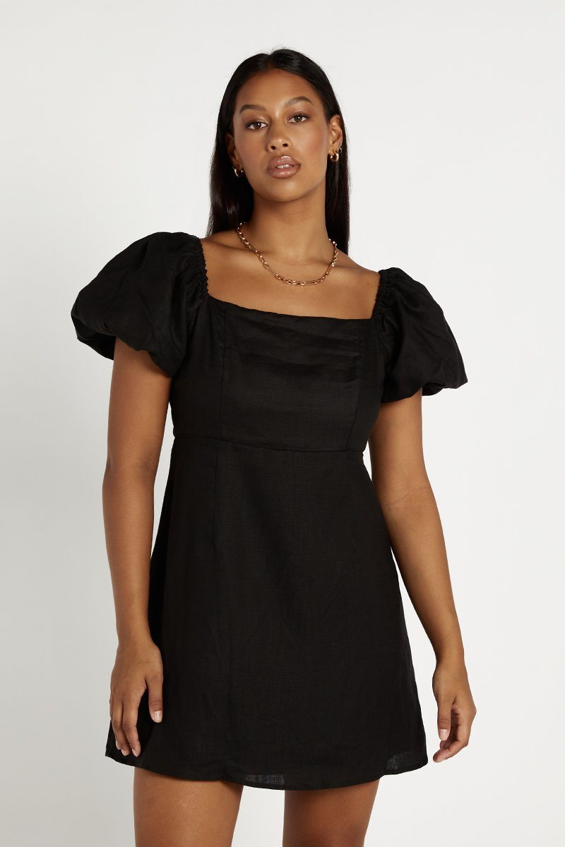 LYDIA BLACK LINEN MINI DRESS Clothing DISSH Boutiques 12 BLACK
