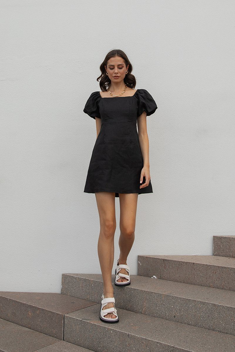 LYDIA BLACK LINEN MINI DRESS Clothing DISSH Boutiques