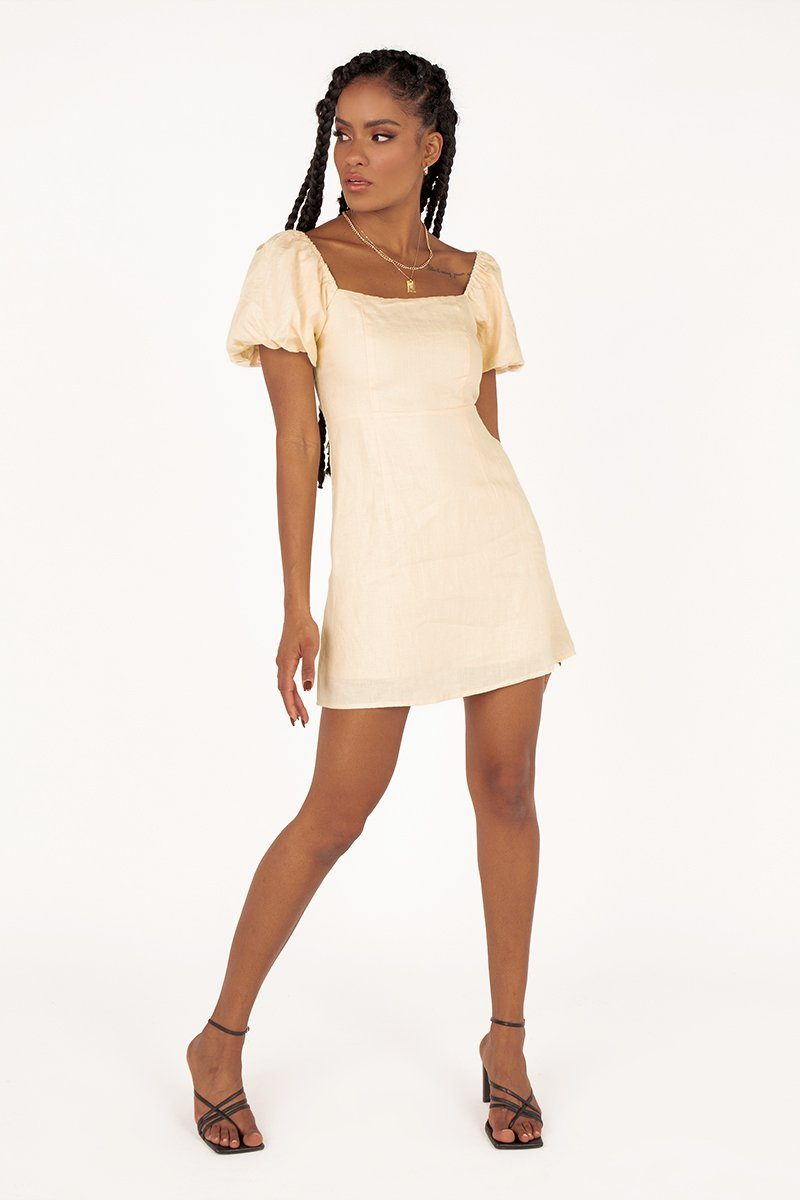 LYDIA CREAM LINEN MINI DRESS Clothing DISSH Boutiques 14 CREAM